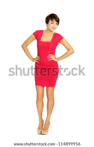 Beauteous girl in coral dress on a white background - stock photo