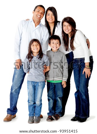 Beautful five memberLatin american family - isolated over a white background - stock photo