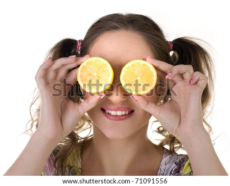 beautifu cute girl with lemon