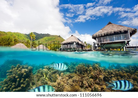 Beautiful above and underwater landscape of Moorea island in French Polynesia - stock photo