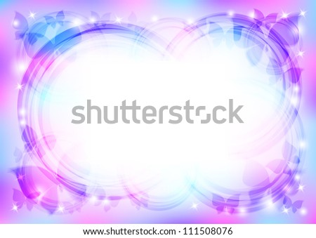 beautiful abstract background with butterflies and stars - stock photo