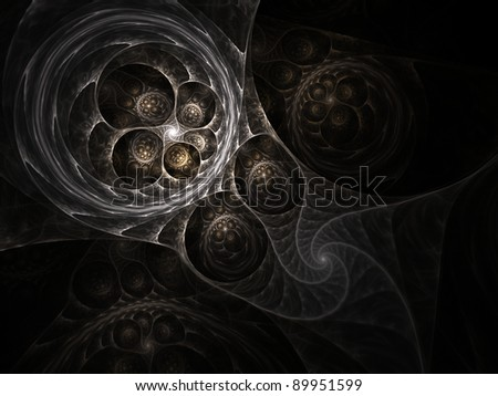 Beautiful abstract fractal in brown on black background - stock photo