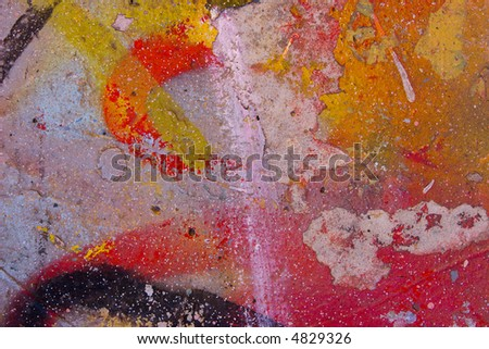 beautiful abstract graffiti on the wall - stock photo