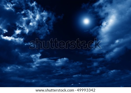 beautiful abstract nightly clouds landscape - stock photo
