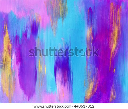 Beautiful abstract painting, cyan blue and pink colors,acrylic - stock photo