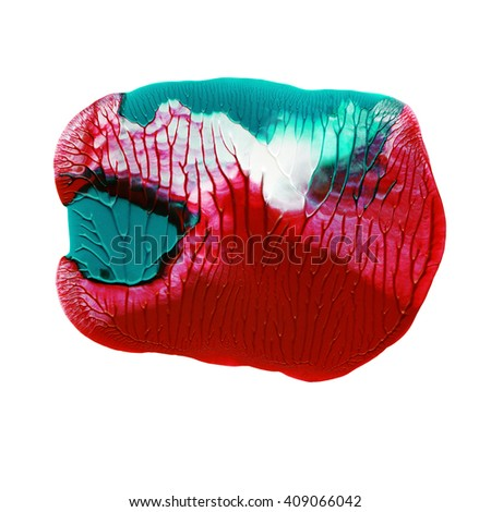 Beautiful acrylic design element,red and green on white background - stock photo