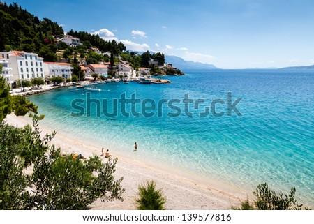 Beautiful Adriatic Beach and Lagoon with Turquoise Water near Split, Croatia - stock photo