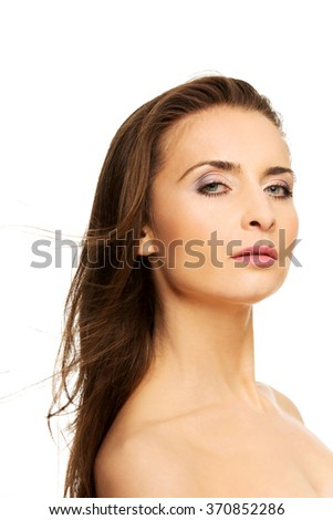 Beautiful adult woman with gorgeous hair. - stock photo