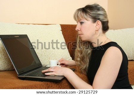 beautiful adult woman with laptop