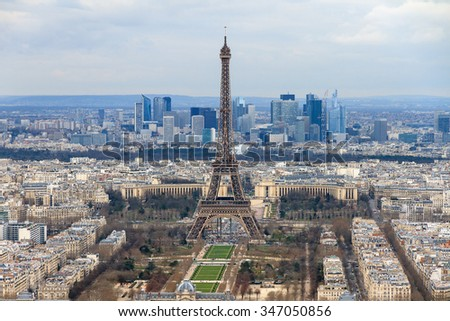 Beautiful aerial cityscape of Paris, France, with the Eiffel tower seen from the Tour Montparnasse - stock photo