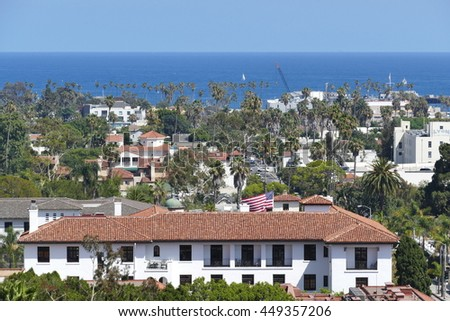 Beautiful aerial landscapes seen from Santa Barbara County Courthouse, California