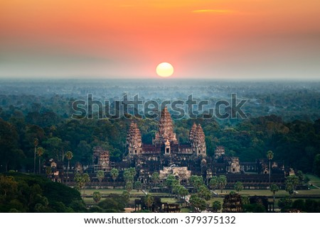 Beautiful aerial view of Angkor Wat at sunrise, Siem Reap, Cambodia - stock photo