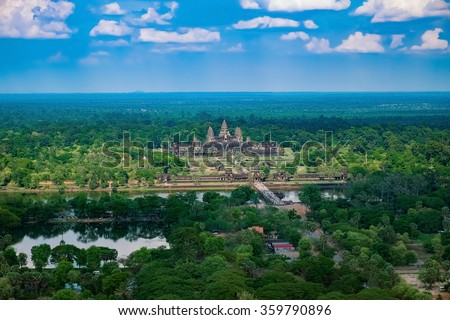Beautiful aerial view of Angkor Wat Temple, Cambodia, Southeast Asia - stock photo