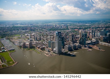 Beautiful aerial view of Jersey City, NJ on a summer afternoon. - stock photo