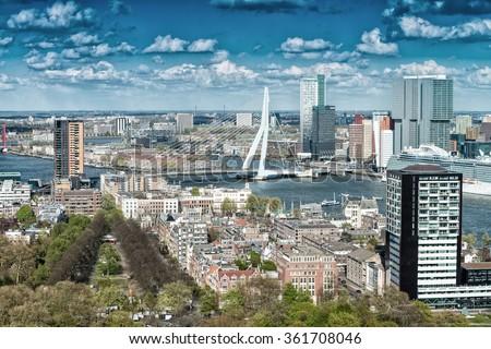 Beautiful aerial view of Rotterdam skyline. - stock photo