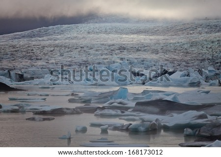 Beautiful aerial view on icelandic glacier and glacier lagoon
