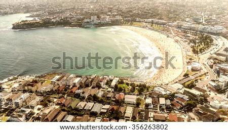 Beautiful aeril view of Bondi Beach, Sydney - Australia. - stock photo