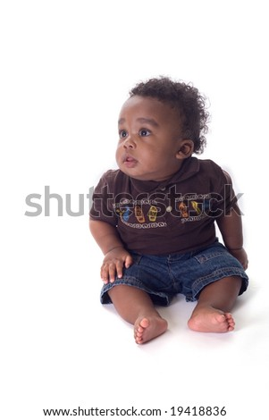 Beautiful African american baby boy on white background - stock photo