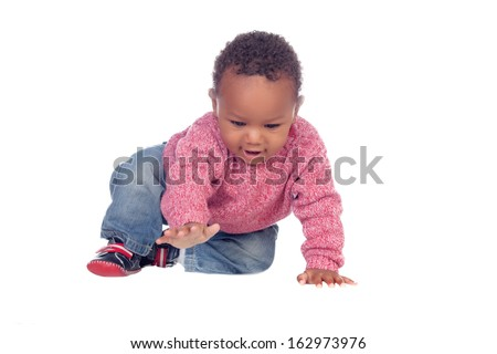 Beautiful African American baby crawling isolated on a white background - stock photo