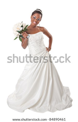 Beautiful African American Bride Portrait Standing on White Background - stock photo