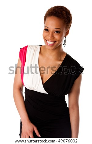 Beautiful African American business woman wearing black fashion dress and big smile, isolated. - stock photo