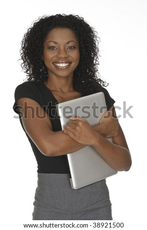Beautiful African American businesswoman holding a laptop computer