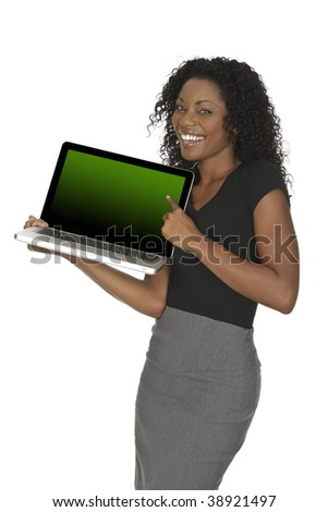 Beautiful African American businesswoman holding and pointing at a laptop computer with clipping path - stock photo