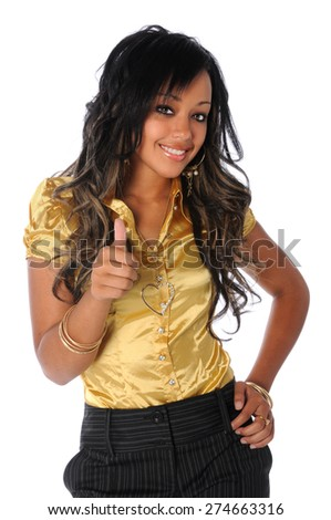 "Beautiful African American businesswoman showing the ""thumbs up"" isolated over white background"