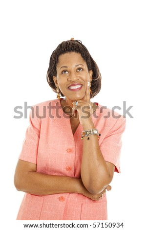 Beautiful African-American businesswoman using her imagination.  Room for text or thought bubble.  Isolated. - stock photo