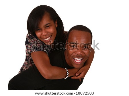 Beautiful african american couple on pure white background - stock photo