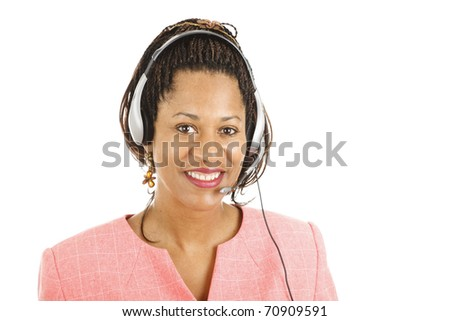 Beautiful african-american customer service representative smiling.  Isolated on white.