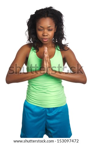 beautiful african american female doing yoga isolated on white - stock photo