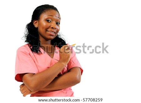 Beautiful African American healthcare professional in pink scrubs - smiling - needle copy space right - stock photo
