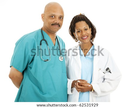 Beautiful african-american medical doctors isolated on white background. - stock photo