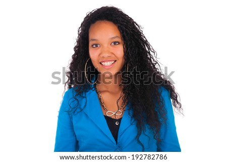Beautiful African American Woman Close up portrait isolated - stock photo