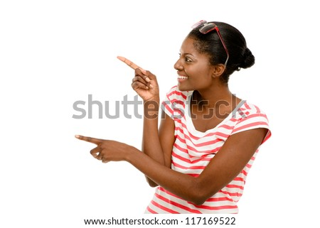 Beautiful African American woman happy thumbs up isolated on white background