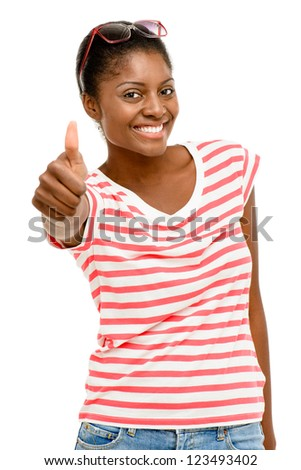 Beautiful African American woman happy thumbs up isolated on white background - stock photo