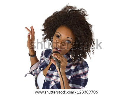 Beautiful african american woman karaoke singer - isolated on white background - stock photo
