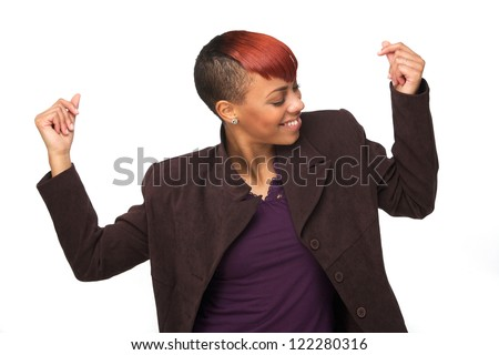 Beautiful African American woman snapping her fingers. She is dancing and enjoying music. Horizontal image Isolated on white background - stock photo