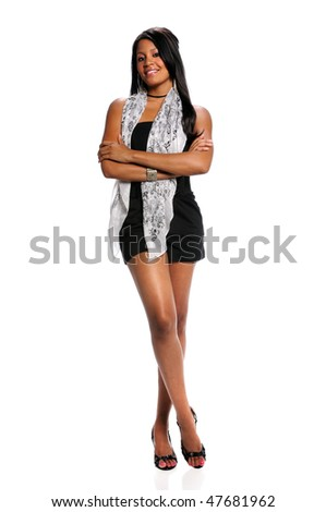 Beautiful African American woman standing with arms crossed isolated over white background