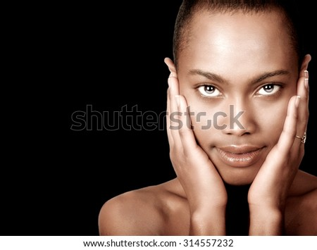 Beautiful Afro American Woman Isolated On White - stock photo