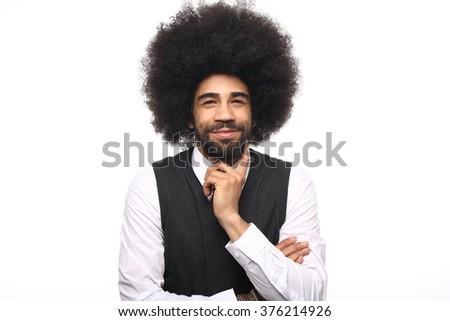 Beautiful afro business man - stock photo