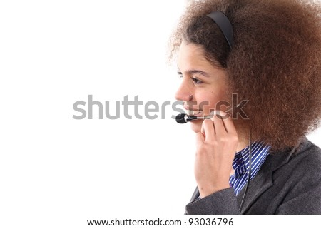Beautiful Afro lady with headset in a call center