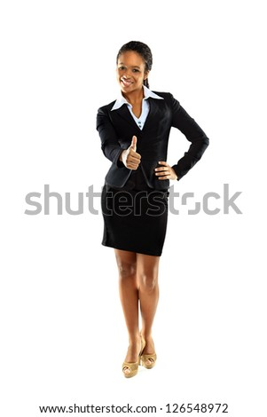 Beautiful afro woman doing ok sign - stock photo