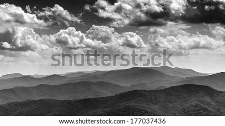 Beautiful afternoon sky over the Blue Ridge Mountains, from North Marshall in Shenandoah National Park, Virginia. - stock photo