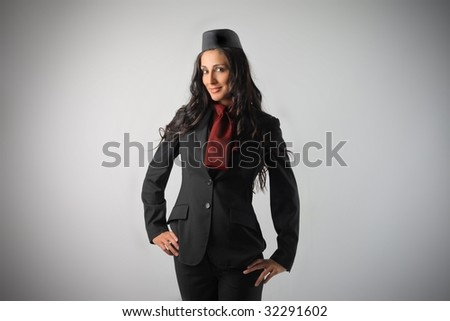 beautiful air Hostess isolated - stock photo