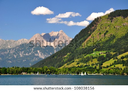 Beautiful  Alpine lake Zeller See in Austria - stock photo