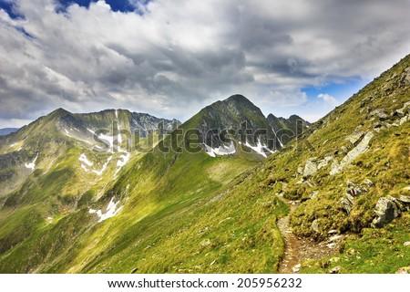 Beautiful alpine landscape from  Parang  mountains,Romania - stock photo