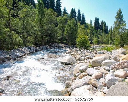 Beautiful Alpine landscape in summer sunny day - stock photo