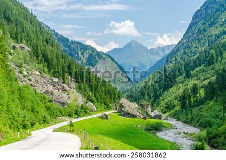 Beautiful alpine landscape with a mountain path, Austrian Alps, Europe - stock photo